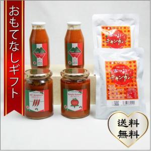おもてなしギフト トマト 愛知県豊川市でトマトの元気を引き出して育てた和みトマト「あかまる」で作ったトマトソースのパスタとチキンカレーセット|omotenashigift