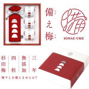 幻の梅「杉田梅」を使用 無添加なのに賞味3年保証 「備え梅」ギフトセット(4粒入り巾着×1、個包装×3) BambooCut(バンブーカット) お歳暮のし対応可 omotesando-club