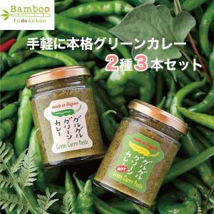グルグルグリーンカレー ペースト 2種3個セット(ノーマル×2、HOT(辛口)×1)栽培期間中農薬不使用のとうがらし使用 風土空感バンブー|omotesando-club