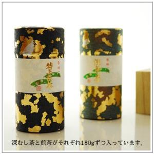 【緑茶ギフトセット】明ヶ島 煎茶・深むし茶各180g 缶2本セット 箱入り 5,280円|omuraen|02