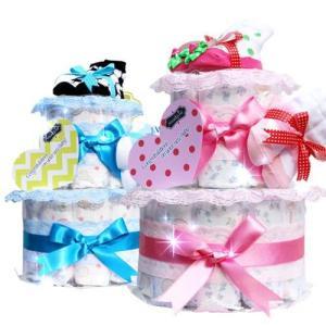 おむつケーキ オムツケーキ 出産祝い 出産祝 mudpie 2段 おむつケーキ|omutsufactory
