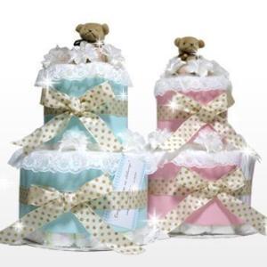 おむつケーキ オムツケーキ 出産祝い 出産祝 シンプル 2段 おむつケーキ|omutsufactory