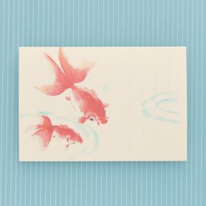 季節のはがき 夏 なかよし金魚(ネコポス可) on-washi