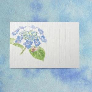 季節のはがき 端午・初夏 額紫陽花とかたつむり(ネコポス可)|on-washi