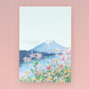 季節のはがき 秋 富士とコスモス(ネコポス可)|on-washi