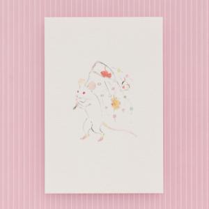 2020年・子年(ねずみどし)の和紙の年賀はがきです。 「日本最古の漫画」と称される国宝絵巻物「鳥獣...