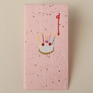 祝儀袋 誕生日 切り絵のし袋 バースディケーキ ピンク(ネコポス可)|on-washi