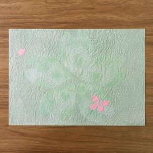 ちぎり絵和紙 春 桜グリーン|on-washi