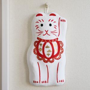 壁飾り 招き猫 白|on-washi