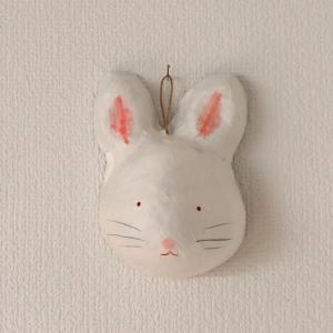 張り子 壁飾り うさぎ 白|on-washi