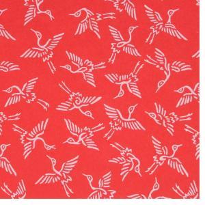 色鳥の子紙 シルク印刷 鶴 赤×パール(306-ハ) on-washi
