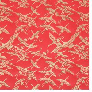 色鳥の子紙 シルク印刷 つる 赤×金(307-ロ) on-washi