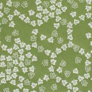 色鳥の子紙 シルク印刷 葉 緑×パール(310-イ) on-washi