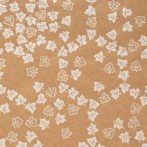 色鳥の子紙 シルク印刷 葉 茶×パール(310-ハ) on-washi