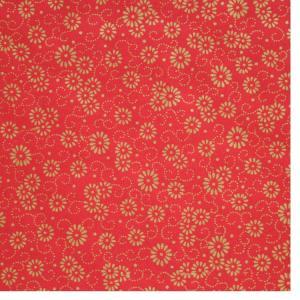 色鳥の子紙 シルク印刷 菊 赤×金(321-ハ) on-washi