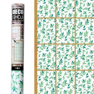 障子紙 オシャレ DECO障子紙 リーフ(グリーン)フリーサイズ・1枚貼り用(HN-01) on-washi