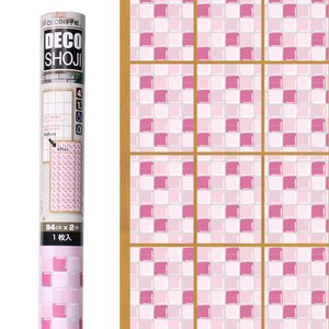 障子紙 オシャレ DECO障子紙 デコタイル(ピンク)フリーサイズ・1枚貼り用(DT-01) on-washi