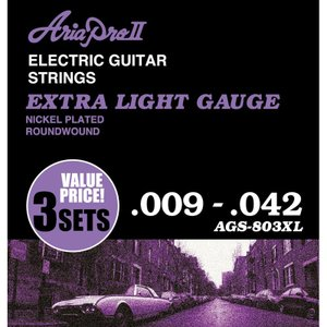 ARIA ( アリア ) AGS-803XL (Extra Light / 3セットパック) エレキギター弦