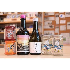 シーパルちゃんカップ、あたごのまつ純米吟醸、佐藤農場の梅酒【女川限定ラベル】と塩辛セット|onagawa-again