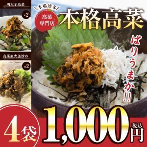 送料無料 国産 博多高菜5袋(高菜直火釜炒め3袋・明太子2袋...