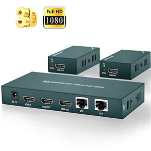 HDMIエクステンダースプリッター1〜2、イーサネットケーブルCat5e / Cat6 / Cat7を介した最大50M 1080P @ 60|once20200619