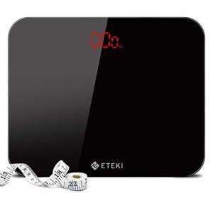 Eteki 体重計 ヘルスメーター デジタル 3kgから180kgまで測定でき おまけのメジャー付き 高精度のボディースケール 薄型で軽量収|once20200619