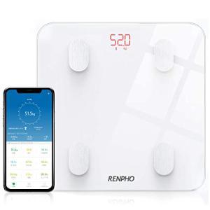 進化版RENPHO 体重・体組成計 体重計 Bluetooth対応 スマホ連動 体重/体脂肪率/BMI/皮下脂肪/内臓脂肪/筋肉量/基礎代謝|once20200619