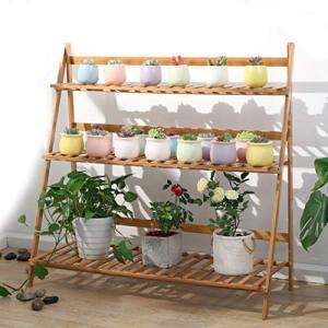 ガーデンラック 3段 フラワースタンド 天然竹製 フラワーラック 幅100cm 多肉植物 棚 盆栽棚 植物棚 ベランダ 整理 鉢 プランター|once20200619