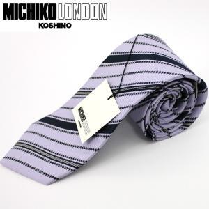ネクタイ ビジネス ミチコロンドン MICHIKO LONDON 日本製 紫地 ストライプ シルク100% ネコポス|oncomshop