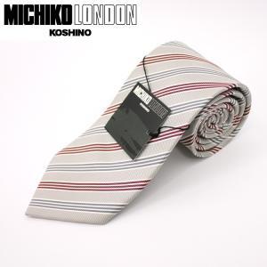 ネクタイ ビジネス ミチコロンドン MICHIKO LONDON 日本製 ライトグレー地 ストライプ シルク100% ネコポス|oncomshop