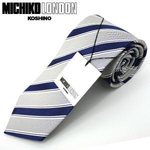 ネクタイ ビジネス ミチコロンドン MICHIKO LONDON 日本製 紺地 ストライプ シルク100% ネコポス|oncomshop