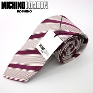 ネクタイ ビジネス ミチコロンドン MICHIKO LONDON 日本製 赤紫地 ストライプ シルク100% ネコポス|oncomshop