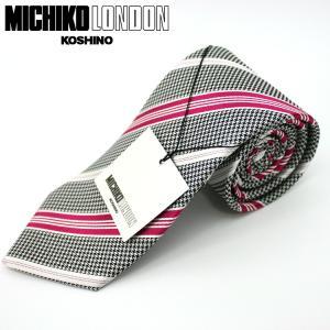 ネクタイ ビジネス ミチコロンドン MICHIKO LONDON 日本製 黒地 ストライプ シルク100% ネコポス|oncomshop