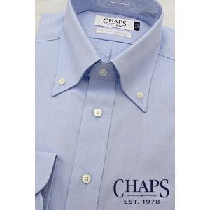 CHAPS チャップス 長袖 ビジネス シャツ 綿100% 形態安定加工 ボタンダウン ブルー oncomshop