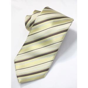 ネクタイ ビジネス ストライプ クリーム ゴールド 茶 水色 シルク 西陣織 ネコポス|oncomshop