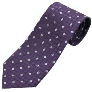 ネクタイ ビジネス ドット 市松 花 紫 シルク 西陣織 ネコポス|oncomshop