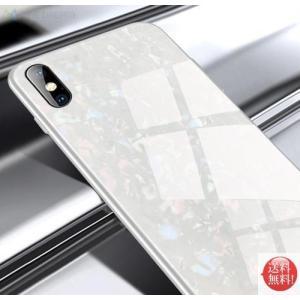 iphoneケース ガラスシェル キラキラ 高級感 宝石 ツヤ (ホワイトiphoneX/XS)  ...