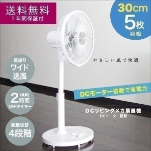 扇風機 リビング扇風機 30cm 5枚羽根 DCモーター 風量4段階 OFFタイマー 首振り 静音 省エネ 節電 送料無料|onedollar8