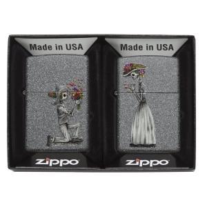 ジッポー ZIPPO ジッポ オイルライター ライター USモデル ペアジッポー スカル 花束プロポーズ 28987|oneofakind