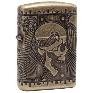 ジッポー ZIPPO ジッポ オイルライター Skull スカル ライター 日本未発売 29268 Antique Brass アンティーク 海外モデル 海外限定|oneofakind