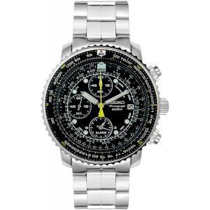 セイコー SEIKO メンズ 腕時計 パイロットクロノグラフ 日付 防水 SNA411P1 ブラック パイロットアラーム 海外モデル|oneofakind