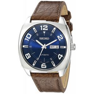 Seiko セイコー SNKN37 メンズ 腕時計 ステンレススチール ブラウンレザーバンド ブルー スマートウォッチ ダイヤル 自動巻き|oneofakind