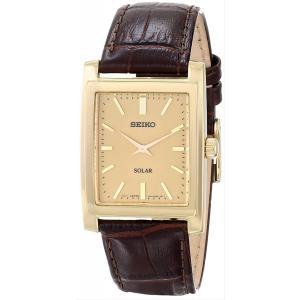 セイコー SEIKO 腕時計 メンズ ソーラー ゴールドトーン SUP896 ブラウンレザー アナログ スクエア|oneofakind