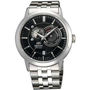 オリエント ORIENT 腕時計 自動巻き SUN AND MOON FET0P002B0 メンズ シルバーバンド 文字盤ブラック アナログ カレンダー機能|oneofakind