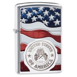 ジッポー ライター ZIPPO オイルライター American Stamp on Flag アメリカ国旗 ハイポリッシュクローム 29395 星条旗 USAスタンプ oneofakind