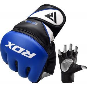 RDX グローブ 総合格闘技 MMA キックボクシング用 オープンフィンガー ブルー Medium グラップリンググローブ メンズレディース兼用 湿気防止 マジックテープ|oneofakind