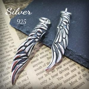 ◆シルバー 925 ネックレス ペンダント トップ フェザー ウイング 羽 デザイン   ◆繊細な...
