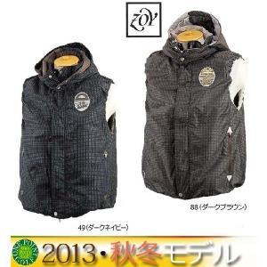 ゾーイ ZOY メンズ 2013年秋冬 ドット柄フード付ベスト 10040853-HJI32-133|onepoint