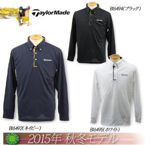 ゴルフウエアテーラーメイド TaylorMade メンズ2015年秋冬新作 長袖 リソッド ボタンダウン ポロ10075011-CBZ53|onepoint
