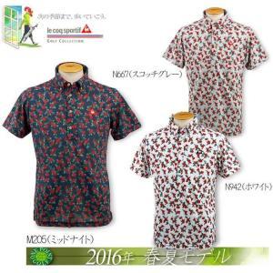 ルコックゴルフ le coq メンズ2016年春夏 半袖 ボタニカルフラワー ポロシャツ 10075905-QG2977|onepoint